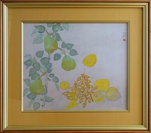 森田沙伊 「梨と豆」 日本画 12号 共板付