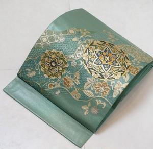 汕頭刺繍 螺鈿 唐花 華紋 袋帯 裏葉色 黄緑 200
