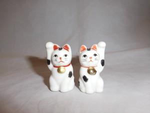 陶磁器招き猫ペア porcelain beekoning pair cats(No2)