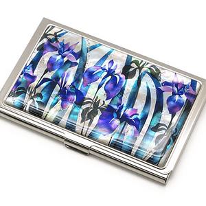 天然貝 名刺カードケース(かきつばた)<螺鈿アート>【ラッピング対応】
