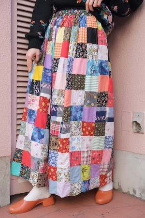 vintage/hitotose patchwork skirt.