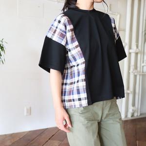 綿天竺×綿麻スラブチェックプルオーバー【BB92-925】