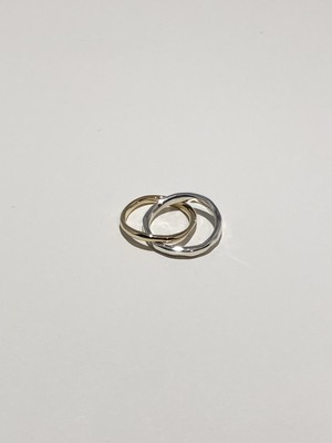F twin ring K14 × silver(再入荷)