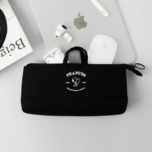 【韓国限定】peanuts snoopy grip pen case 4colors / ピーナツ スヌーピー ペンケース ポーチ 持ち手付き 公式 韓国雑貨