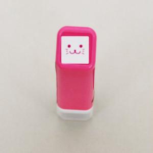 【こどものかお】スケジュールスタンプ浸透印「猫フェイス・ピンク」