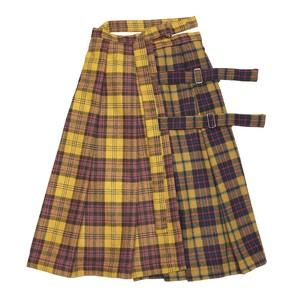 チェック巻きスカート yellow×yellow