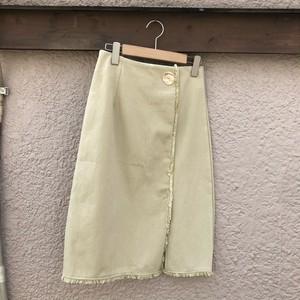 ワンボタンフリンジツイルスカート カラー: Beige