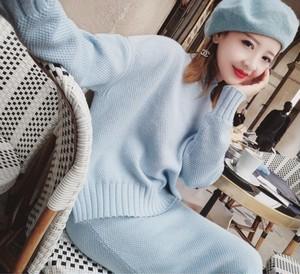 ⑨タートルネックニット&タイトスカート セット ブルー(s_13)