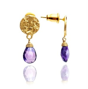 【azunilondon】Athena small stone drop earrings /amethyst