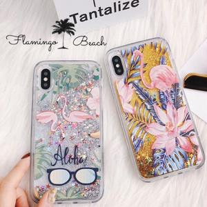 【FlamingoBeach】フラミンゴ グリッター iPhoneケース