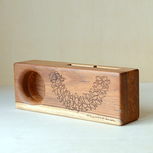 Wood eco speaker [Plumeria Lei / wood:チーク] 【WES-PLU-L-2】