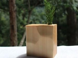 白い犬 杉と桧の一輪挿し №.1