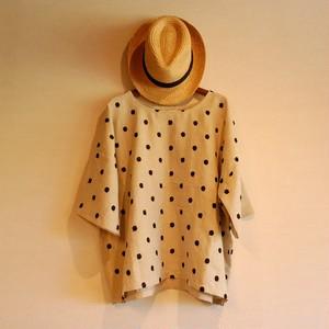 ドット刺繍リネンのバタフライシャツ