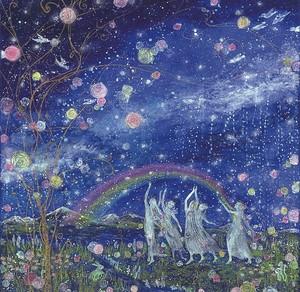 青山京古*大判ポストカード「虹の世界咲く愛の花」