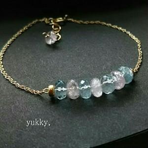 宝石質アクアマリンAAA*モルガナイトAAAボタンカット*ブレスレット14kgf