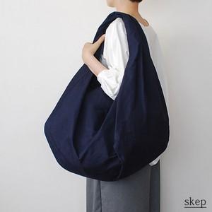 パラフィン加工 コットンショルダーバッグ【ポケット付】:ネイビー