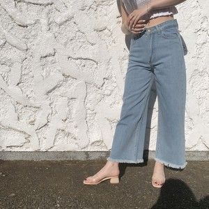 【lottie made】cutoff wide denim pants (AP32F1007)