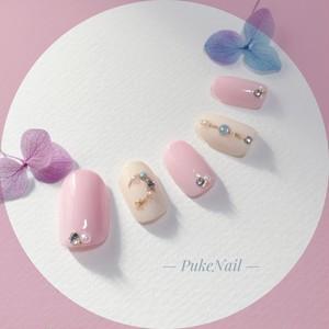 Pukeネイル [No.195]素敵な月/ピンク&ベージュ・出かけ・♡v♡ジェイルネイルチップ