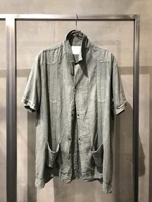 TrAnsference linen rayon cuba shirt - fade lime