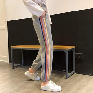 【ボトムス】韓国系ハイウエスト配色ストライプ柄カジュアルパンツ26592037