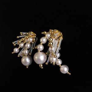 E-23 pierce/earring(gold×clear)