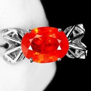 大粒の4.1ct! オレンジ サファイア リング 指輪 10号 アフリカ産