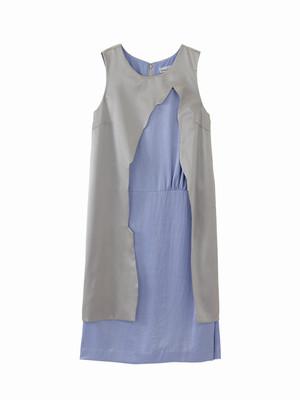 Half layered dress- short  / shadow × blue purple / S15DR02-2