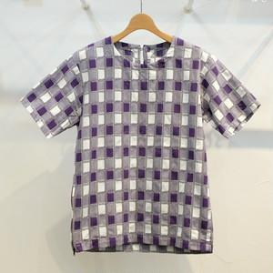 KUON(クオン) 吉野格子(柳格子) 半袖プルオーバーシャツ(カットソー) パープル
