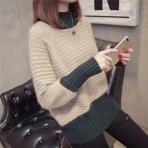 ✩即納商品✩【トップス】大活躍ラウンドネックファッションスプライシングニットセーター