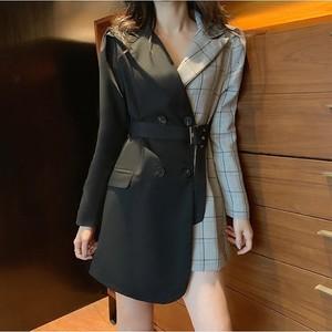 【ワンピース】ファッションロング気質よい切り替えチェック柄通勤ワンピース