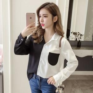 【トップス】フェミニン長袖シングルブレストPOLOネック切り替えシャツ