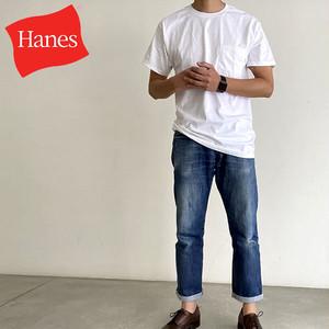 【夏の定番といればやっぱりこれ!】Hanes Men's 6.0 oz. Short Sleeve Pocket Tee ヘインズ USA企画 メンズ ポケットTシャツ ポケT【570749072-wht】