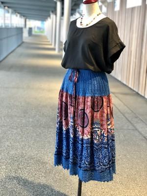 チュニックにもなる2wayスカート_かぎ針編みBlue_Thailand