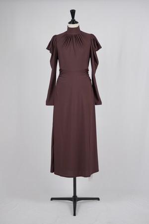 【FETICO】gathered jersey dress - bordeaux