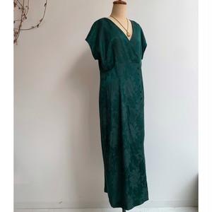 Vintage  グリーン 花柄 ワンピース