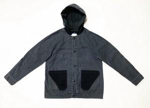 19AW 硫化染めバックサテンミリタリーフーディージャケット / Sulfide dyeing back satin military hoodie jacket