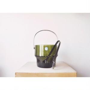 【アイスペール&トングセット】老緑 佐々木硝子 ハンドメイド デッドストック 未使用品
