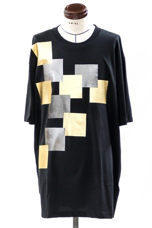 Gold And Silver Foil Square Print Big T-Shirt