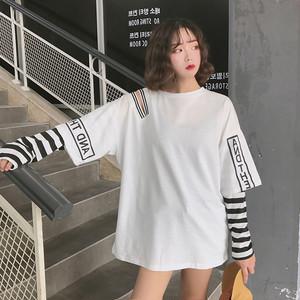 【トップス】長袖透かし彫りラウンドネック配色Tシャツ21862268