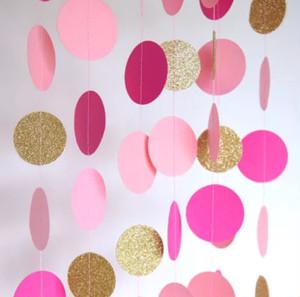 ピンク&ゴールドサークルバナー誕生日 お祝い プレゼント 飾り