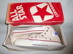 70's CONVERSE ALL STAR / Men's 7, Hi / きなりホワイト/ 赤箱Dead Stock