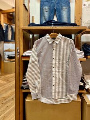 U.S.BOARDER  L/S 切替ストライプ シャツ  shirt アシメトリー メンズ
