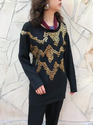 80s black × gold silver beads knit tops ( ヴィンテージ ブラック × ゴールド ビーズ ニット トップス )