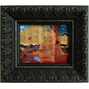 「月と太陽」 段ボールにアクリル * 現代アート 絵画 抽象画 ミニ額 フレーム 内野隆文 takafumiuchino