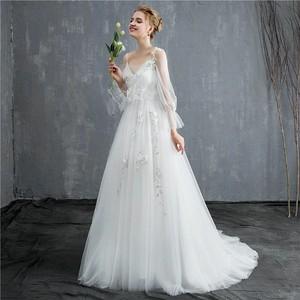 ウエディングドレス パーティドレス 結婚式 二次会 ロングドレス 発表会 フェミニン 編み上げ 刺しゅう フォーマル ワンピース ワンピドレス