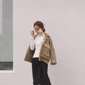 【アウター】無地秋冬長袖折襟コーデュロイシンプルジャケット