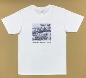 Jean-Pierre Anpontan アートプリントTシャツ「友達になるには①」白Tシャツにオリジナルアート+ロゴ メンズ レディス キッズ