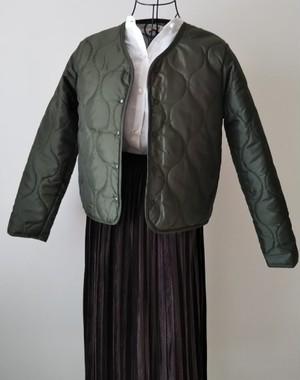 キルティングジャケット ショート丈 モスグリーン