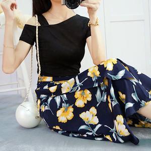3061.肩出し半袖Tシャツ+大花柄ロングスカートセット(ブラック&ネイビー)