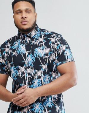ビッグサイズ   パーム柄プリント スキニー ボタンダウンシャツ